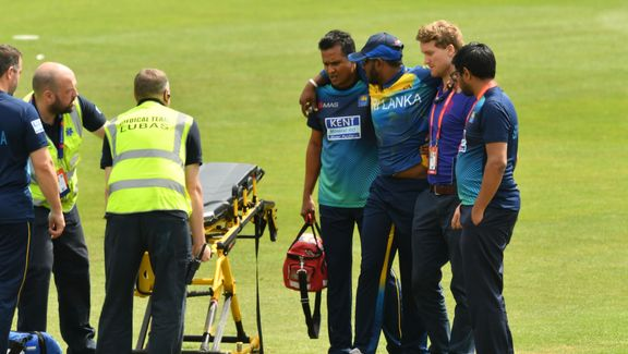 Avishka Fernando is stretchered off injury