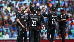 New Zealand celebrate Pandya wicket