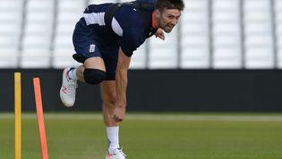 England bowler Mark Wood bowls during training