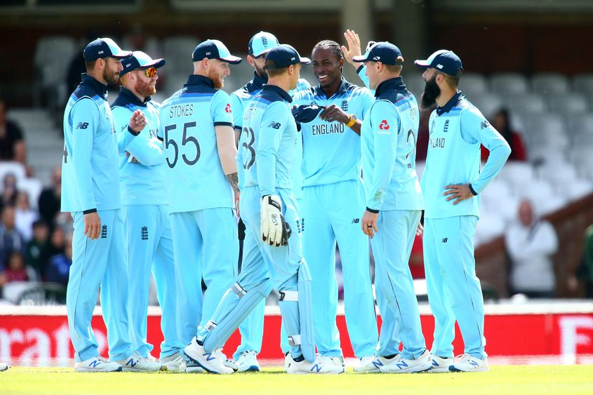 England celebrate against Afghanistan