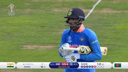 CWC19 WU10: Ban v Ind – Shakib sends back Pandya for 21