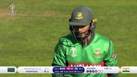 CWC19 WU10: Ban v Ind – Mahmudullah bowled by Kuldeep