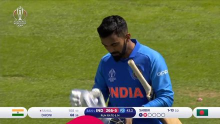CWC19 WU10: Ban v Ind – Rahul's innings ends at 108