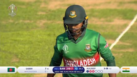 CWC19 WU10: Ban v Ind – Mosaddek is dismissed for third golden duck of the day