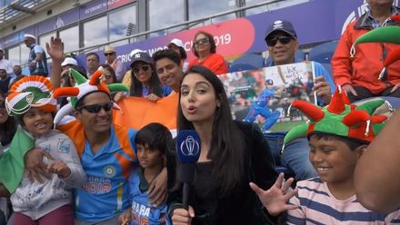 CWC19 WU10: Ban v Ind – Zainab Abbas interacts with both sets of fans