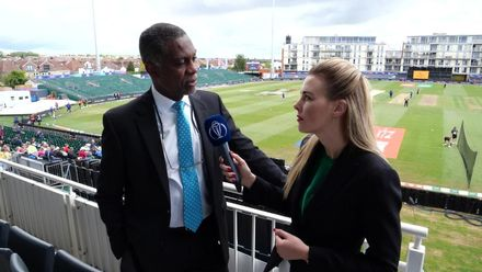 CWC19 WU9: WI v NZ – Elma Smit and Michael Holding react to the toss