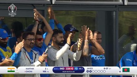 CWC19 WU10: Ban v Ind – Kohli and Co. react to Dhoni's century