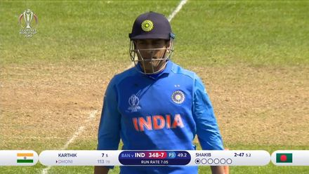 CWC19 WU10: Ban v Ind – Dhoni falls for 113 as Shakib picks up his second wicket