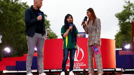 Freddie Flintoff and Shibani Danekar speaking to Nobel Prize winner Malala Yousafzai, Opening Party - ICC Cricket World Cup 2019