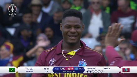 CWC19: WI v Pak – Thomas' dream WC debut continues as he sends back Hafeez