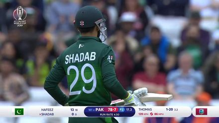 CWC19: WI v Pak – Pakistan continue to crumble as Shadab gets a golden duck