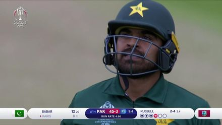 CWC19: WI v Pak – Russell's vicious bouncer gets Haris Sohail