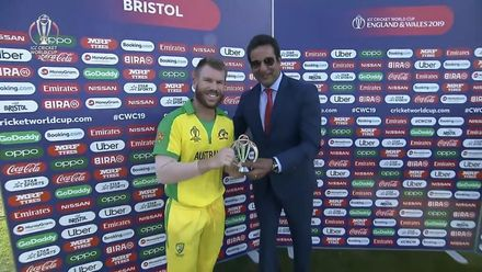 CWC19: AFG v AUS - Warner receives Player of the Match