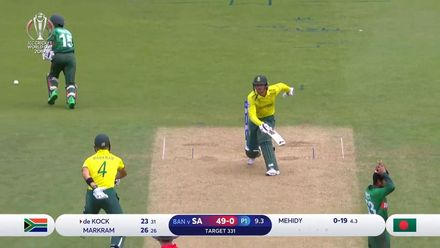 CWC19: SA v BAN - de Kock run out after miscommunication