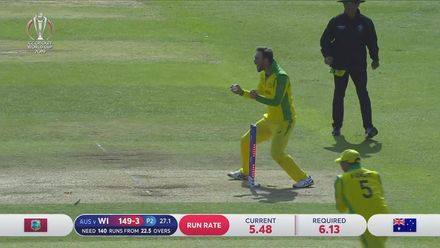 CWC19: AUS v WI - Shimron Hetmyer is run out after mix-up with Shai Hope