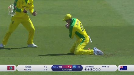 CWC19: AUS v WI - Evin Lewis is caught at slip off Pat Cummins' bowling