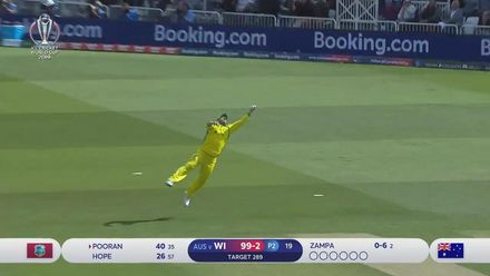 CWC19: AUS v WI - Great catch from Aaron Finch dismisses Nicholas Pooran for 40