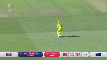 CWC19: AUS v WI - Shai Hope is caught at mid-on for 68