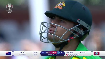 CWC19: AUS v WI - Stoinis is caught at mid-wicket off Holder