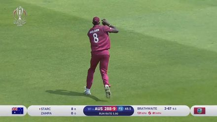 CWC19: AUS v WI - Starc is caught by Holder at long-on to finish Australia's innings