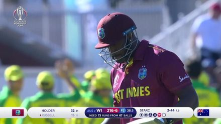 CWC19: AUS v WI - Excellent catch by Glenn Maxwell ends Andre Russell's innings