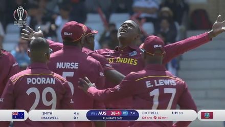 CWC19: AUS v WI - Cottrell sends Maxwell on his way for a duck