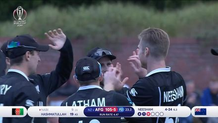CWC19: AFG v NZ - Nabi becomes Neesham's fourth victim
