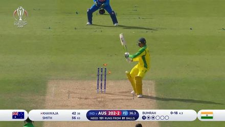 CWC19: IND v AUS - Khawaja plays onto his stumps