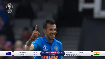 CWC19: IND v AUS - Warner caught at deep mid-wicket