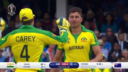 CWC19: IND v AUS - Stoinis produces a fantastic reflex catch off his own bowling to dismiss Dhoni