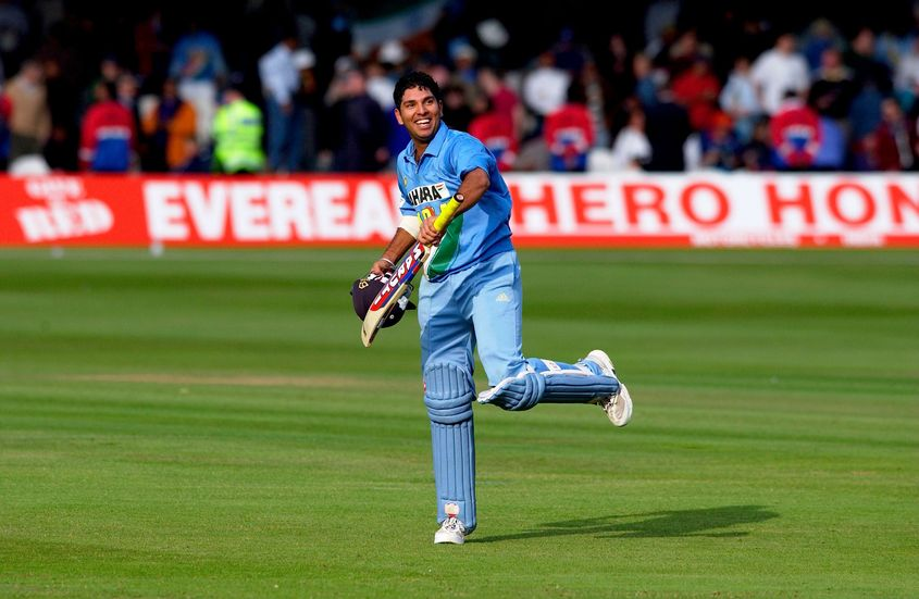 A young Yuvraj celebrates his match-winning innings against England at Lord's