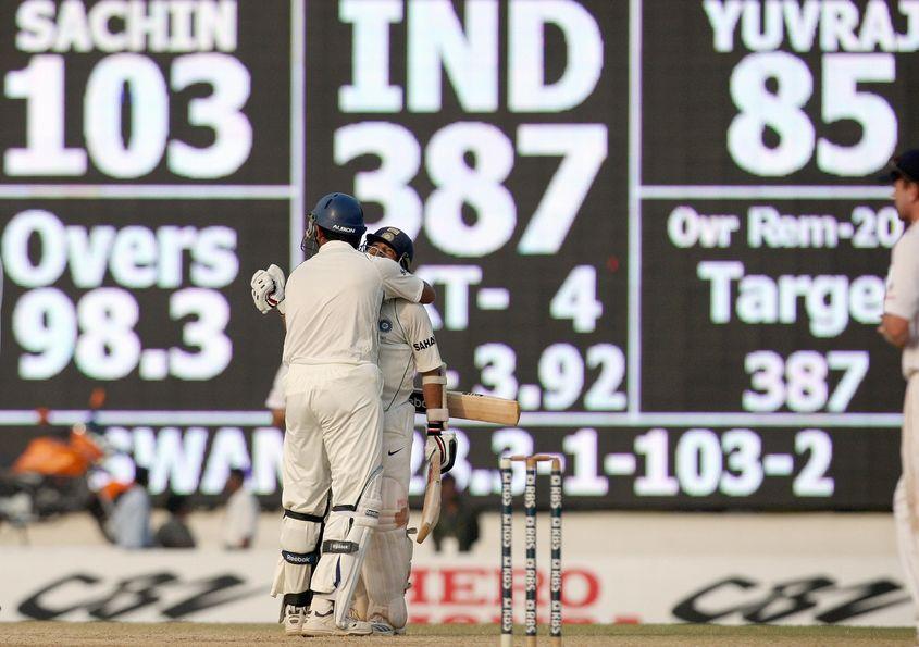 Yuvraj embraces Sachin Tendulkar after a famous victory