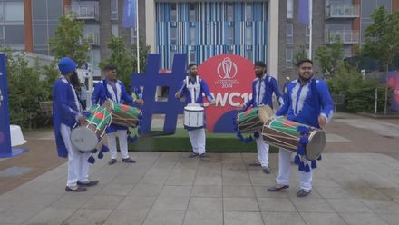 CWC19: BAN v SL - Bangladesh fans with Dhol drums at Bristol