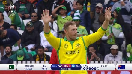 CWC 19: AUS v PAK – Finch takes the fourth wicket of his ODI career!