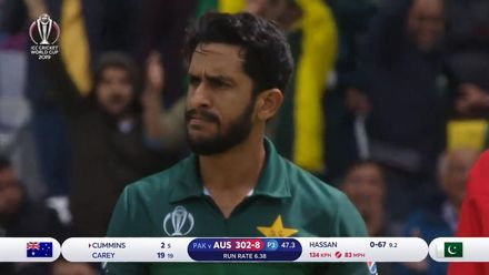 CWC19: AUS v PAK – Hassan Ali claims his first scalp of the day