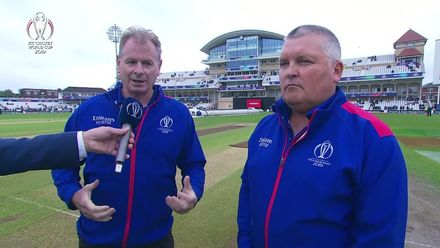 CWC19: IND v NZ - Interview with the umpires about the weather