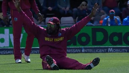 CWC19: ENG v WI - Gayle celebrates fielding the ball