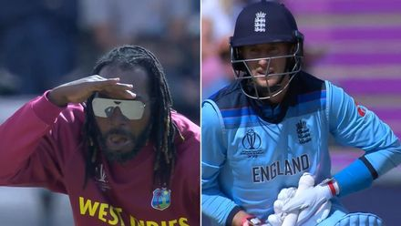CWC19: ENG v WI - Root and Gayle splitscreen reactions