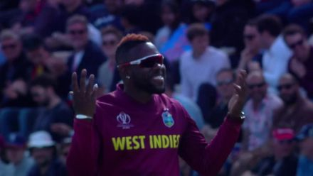 CWC19: ENG v WI - Sub fielder Fabian Allen entertains the crowd