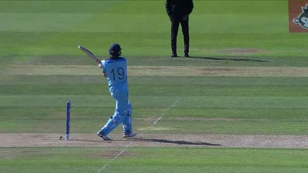 CWC19: ENG v WI - Woakes is dismissed with only 14 runs left to get