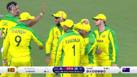 CWC19: SL v AUS - Thisara Perera is caught at mid-on