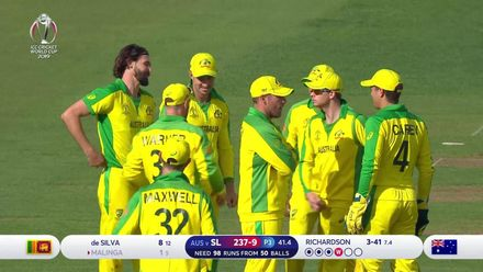 CWC19: SL v AUS - Richardson has Malinga caught in the covers