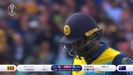 CWC19: SL v AUS - Mathews strangled down the leg-side