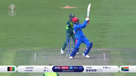 CWC19: SA v AFG - Rashid Khan's big-hitting knock comes to an and as he holes out to van der Dussen