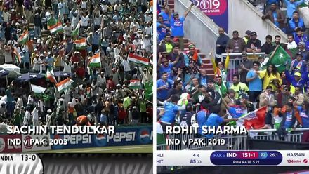 CWC19: IND v PAK - Side-by-side of Sachin's six in 2003 and Rohit's six today