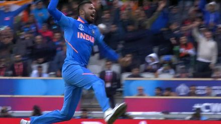 CWC19: IND v PAK - Pandya celebrates taking two wickets in two balls