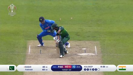 CWC19: IND v PAK - Babar Azam is bowled by a beauty from Kuldeep