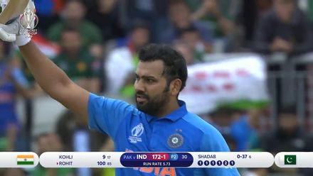 CWC19: IND v PAK - Rohit Sharma brings up his second CWC19 century