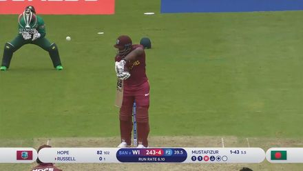 CWC19: WI v BAN - Mustafizur has Andre Russell caught behind for a duck