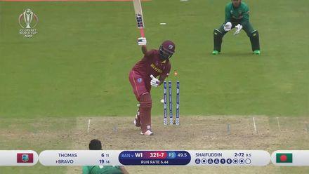 CWC19: WI v BAN - Bravo wicket
